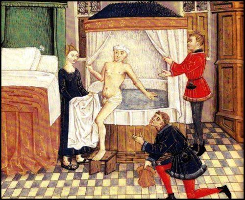 Illustration bain du seigneur ou du riche bourgeois moyen age