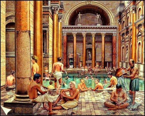 Illustration thermes romaines bains publics à l'époque de Rome