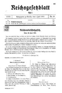 Reichsnaturschutzgesetz Loi pour la protection de la nature au sein du Reich allemand 1935