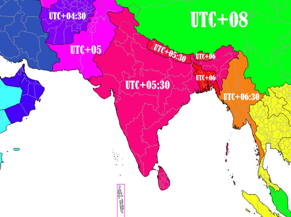 fuseaux horaires Inde Pakistan Bengladesh Nepal