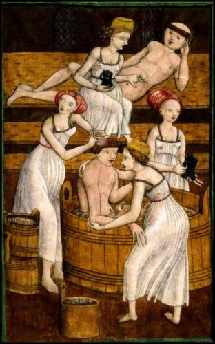 Illustration bains publics moyen age prostitution avec membres du clergé