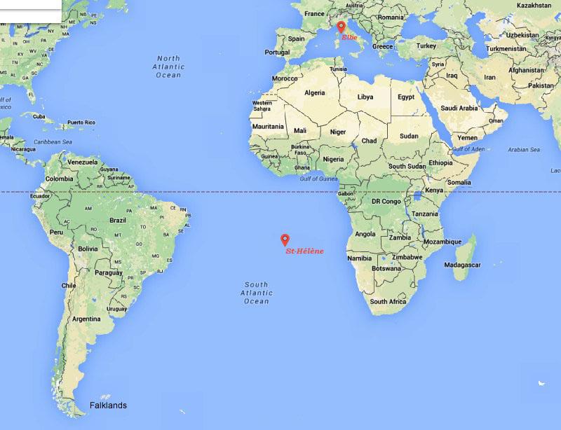 Où se trouvent l'île d'Elbe et l'île de St Hélène google map Napoléon exil