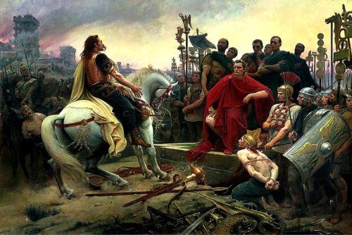Vercingetorix jette ses armes aux pieds de Jules César par le peintre français Lionel Royer en 1899