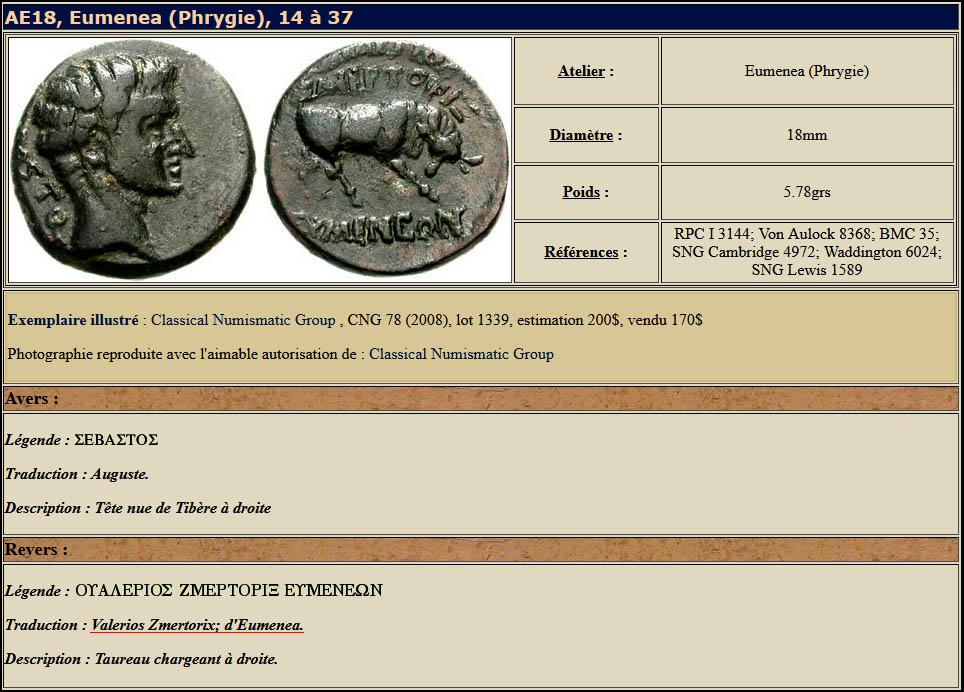 monnaie datant du règne de l'empereur Tibère avec le nom de Zmertorix sur le revers de la pièce