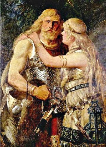 peinture homme et femme viking - Norse Man and Woman by Johannes Gehrts, 1884