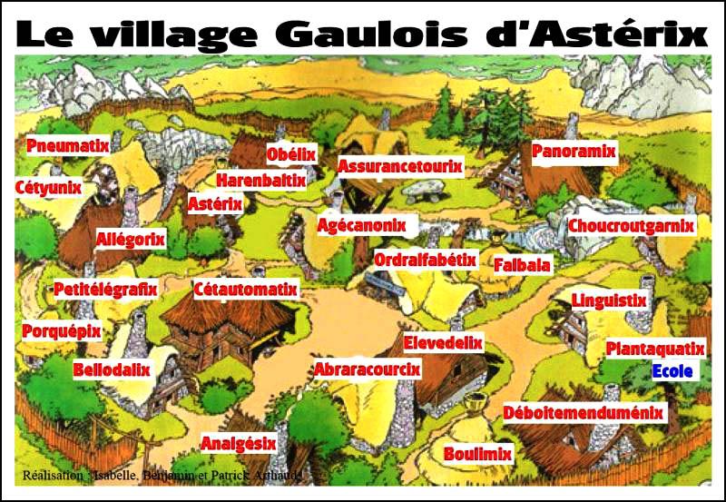 village gaulois de la bande-déssinée Astérix le gaulois avec les noms des principaux personnages