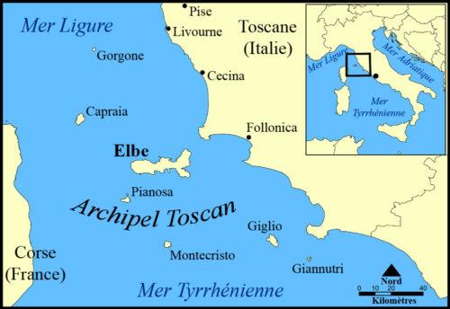 Carte de l'archipel toscan en Italie avec iles Elbe Capraia Gorgone Pianosa Montecristo Giglio Giannutri