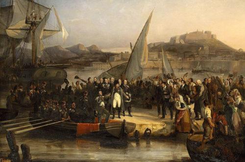 Napoléon Bonaparte quitte l'île d'Elbe pour la France par Joseph Beaume