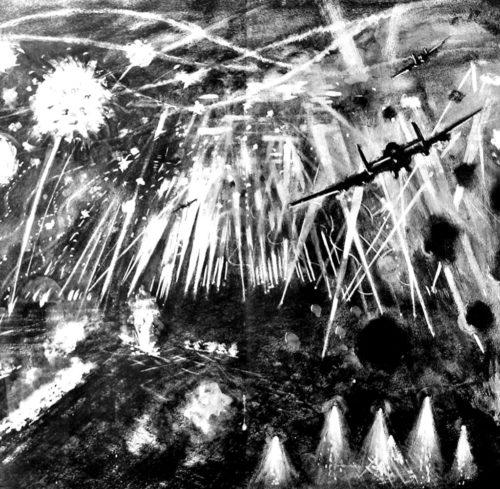 RAF bombardant Berlin pendant la seconde guerre mondiale illustration réveillon