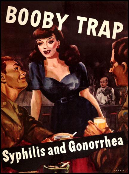 affiche de propagande anti MST Syphilis et Gonorrhee pendant seconde guerre mondiale