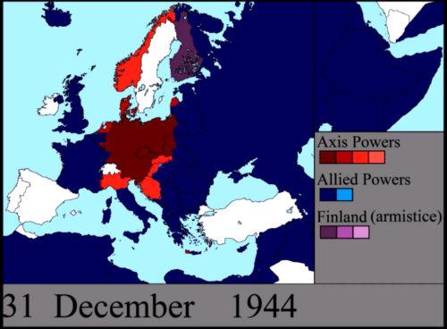 carte map situation de la guerre en Europe le 31 décembre 1944 fronts est et ouest réveillon Berlin