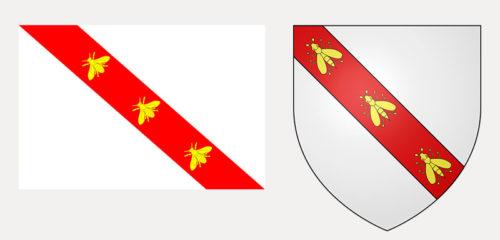 drapeau et blason napoléoniens de la principauté de l'île d'Elbe