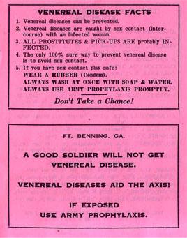 mis en garde de l'armée américaine concernant les maladies vénériennes et le besoin d'avoir des préservatifs