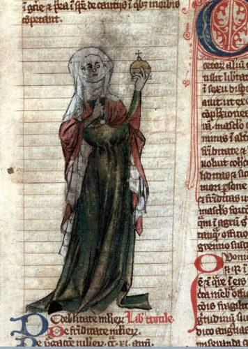 Portrait de Trotula de Salerne dessiné au sein d'un manuscrit.