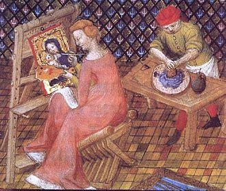 """iniatures issues du livre """"Des cleres et nobles femmes, femmes artistes non reconnues comme telles"""