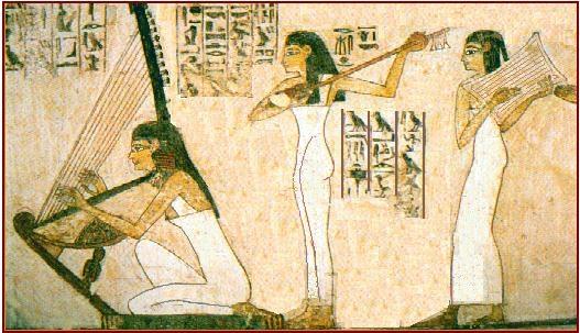 fresque égyptienne avec des femmes artistes