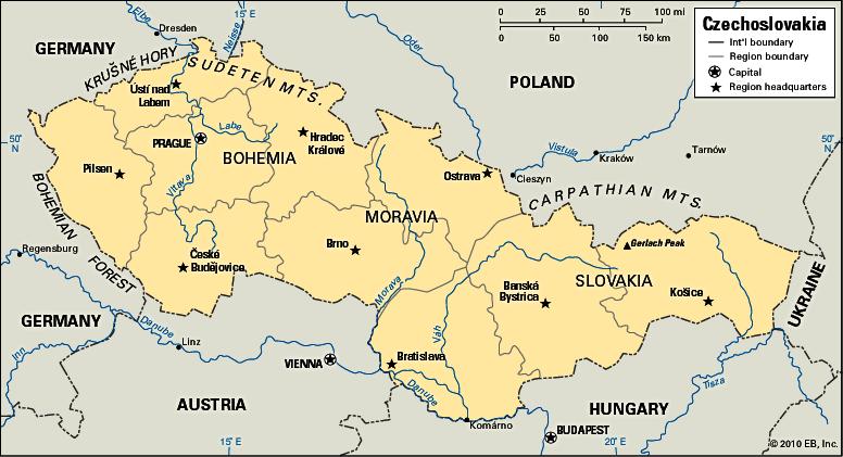 Carte de la Tchécoslovaquie suite à la WW1 Grande Guerre Première guerre mondiale