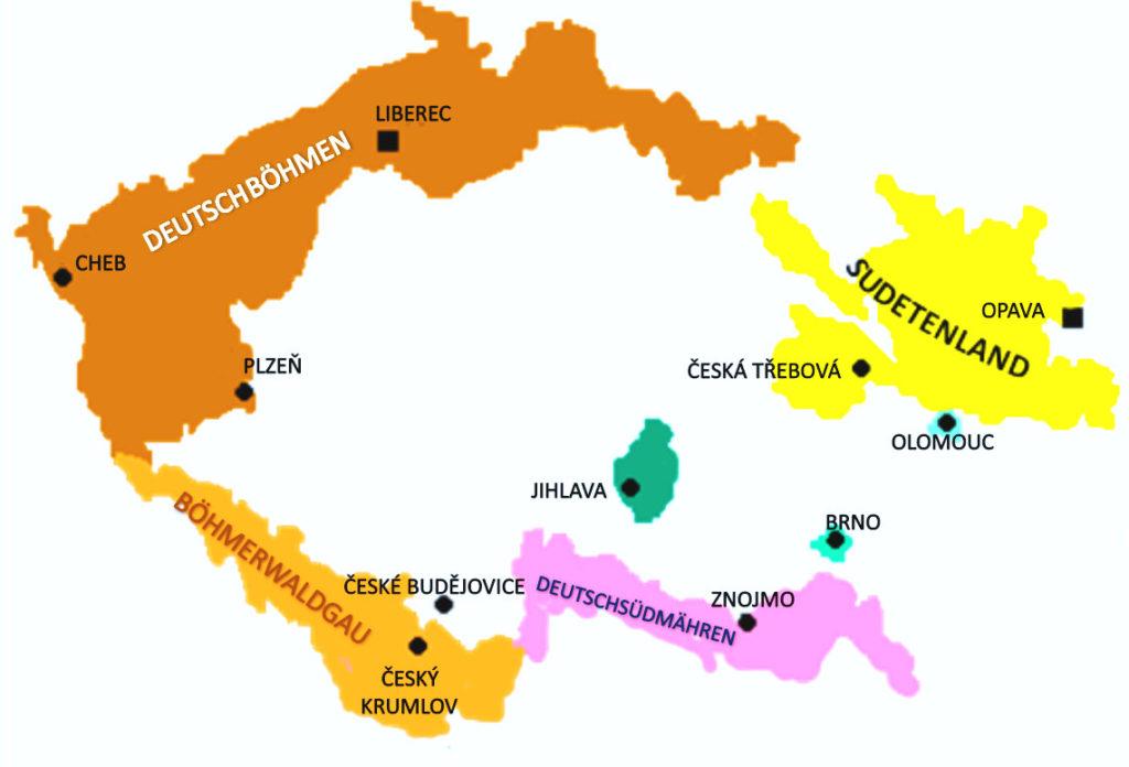 Les land de Tchécoslovaquie ayant cherché à rejoindre la République d'autriche allemande en 1918