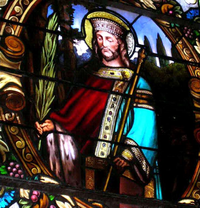 Dagobert II représentation sur vitrail d'un des rois mérovingiens devenu saint