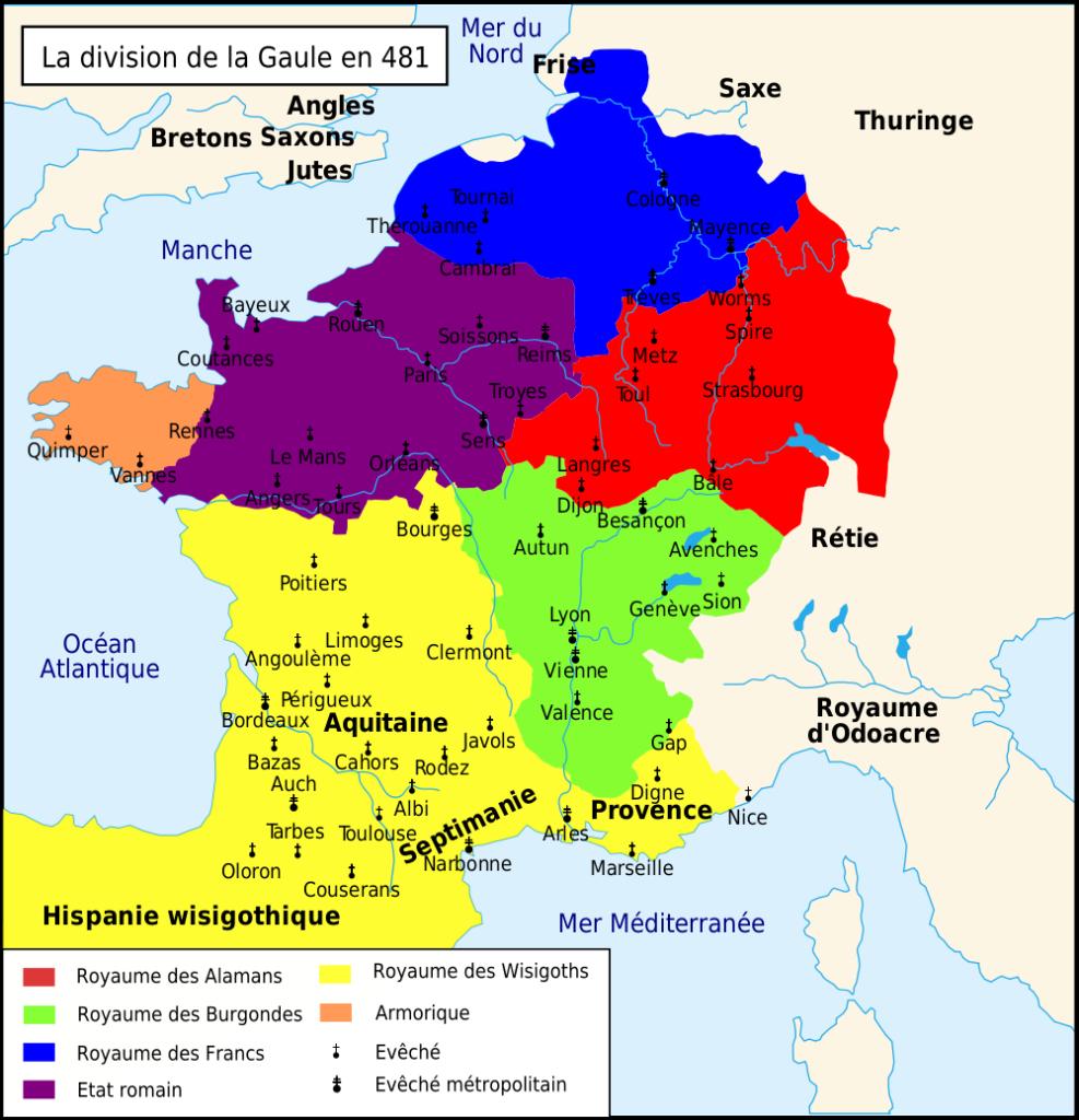 Carte de la Gaule en 481
