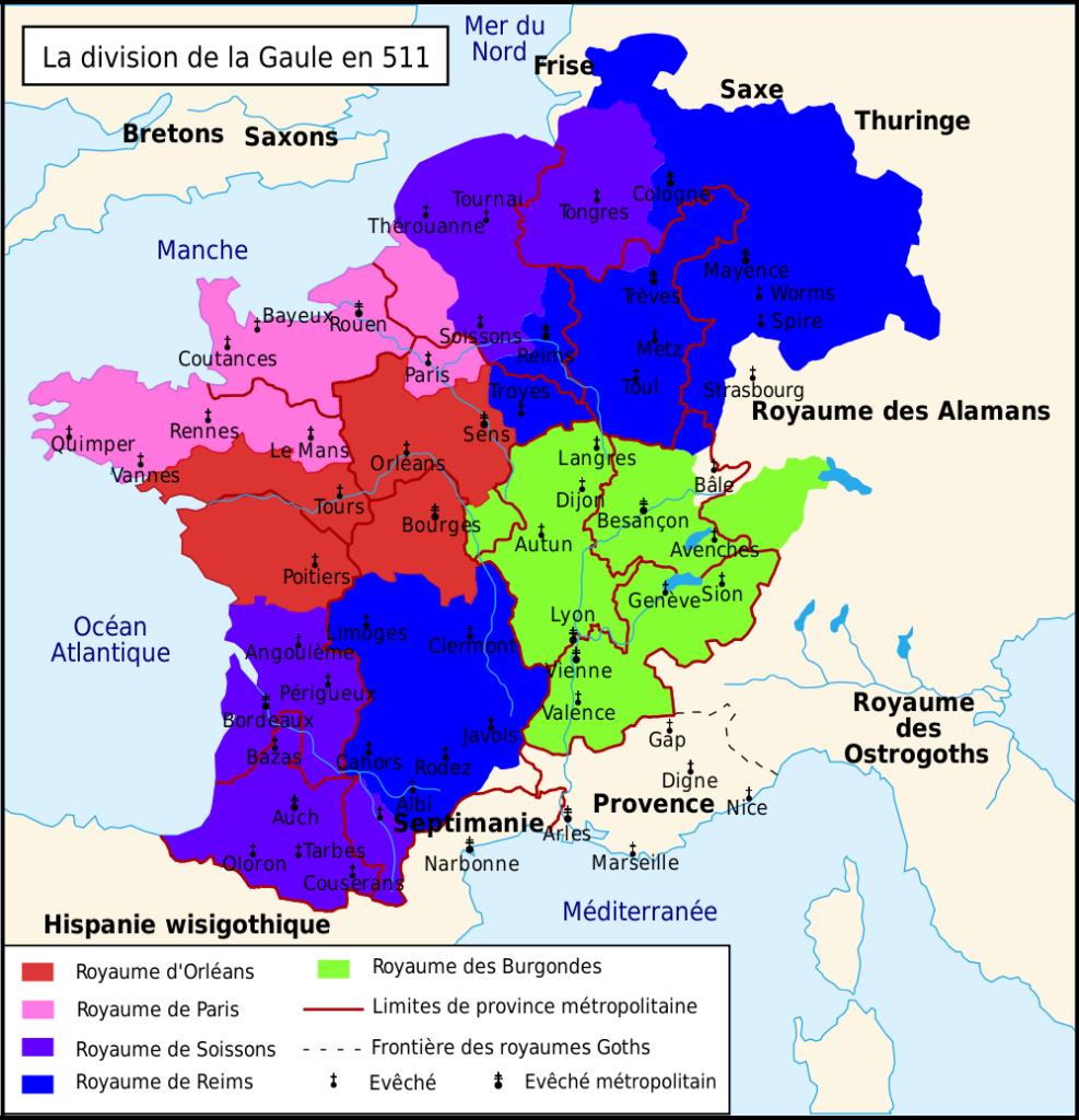 Carte de la Gaule en 511