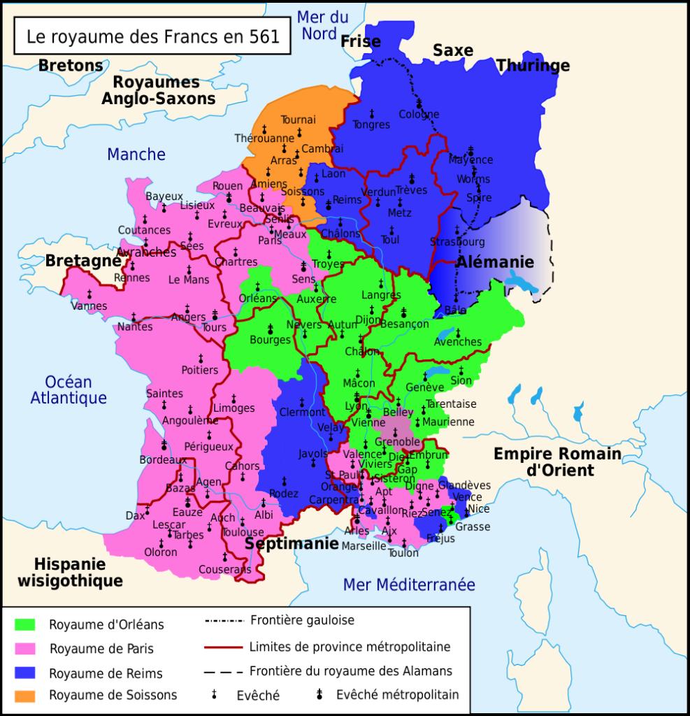 Carte du Royaume franc sous la dynastie mérovingienne en 561