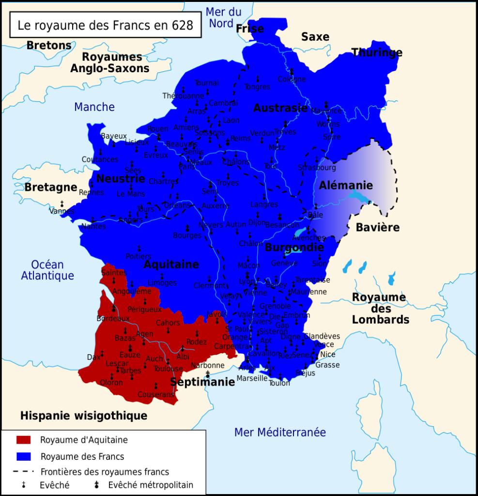 Carte du Royaume franc sous la dynastie des mérovingiens en 628